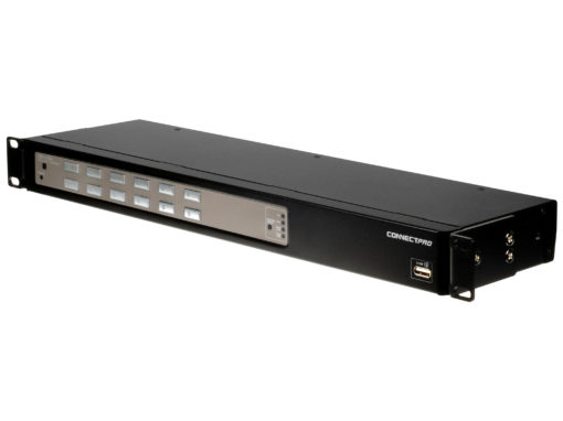 Angle view of the UD-112-PLUS with the rackmount on