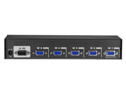 Angle view of the VSE-105 a 5 port vga splitter